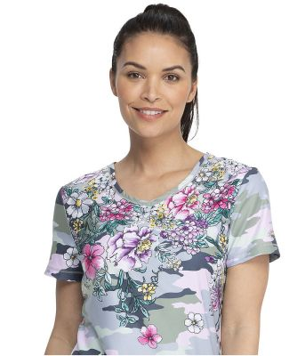 Dickies Medical DK618 - V-Neck Top Flower Frenzy Camo