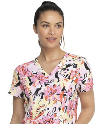 Dickies Medical DK656 -Prints V-Neck Top Brilliantly In Bloom