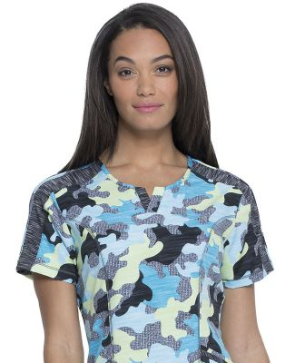 Dickies Medical DK664 -  Dynamix Shaped V-Neck Top Totally Textured Camo