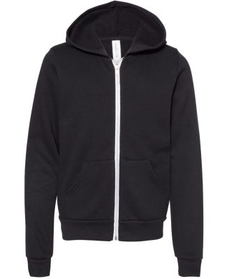 Bella + Canvas 3739Y Youth Sponge Fleece Full-Zip  BLACK