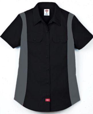 Dickies FS524 Ladies' Industrial Short-Sleeve Colo BLACK/ CHARCOAL