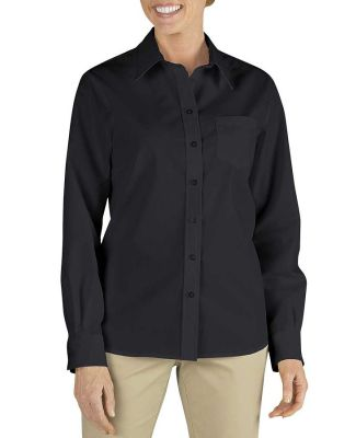 Dickies FL136 Ladies' Long-Sleeve Stretch Poplin S BLACK