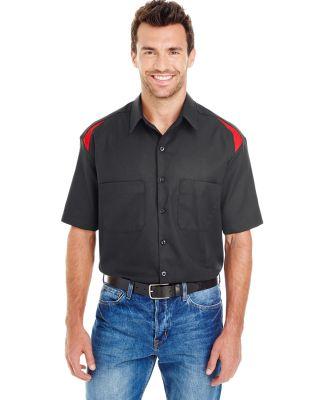 Dickies LS605 Men's 4.6 oz. Performance Team Shirt BLACK/ ENG RED