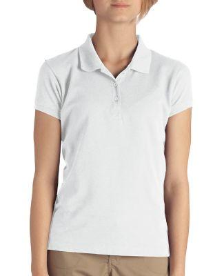 Dickies KS3952 Girl's  Short-Sleeve Pique Polo WHITE