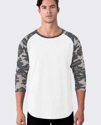 Cotton Heritage MC1190C Unisex 3/4 Sleeve Baseball Vintage White/Khaki Camo
