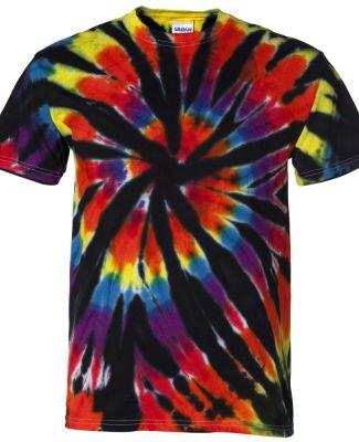 Dyenomite 200TD Rainbow Cut-Spiral Tie-Dyed T-Shir Black Rainbow Cut-Spiral