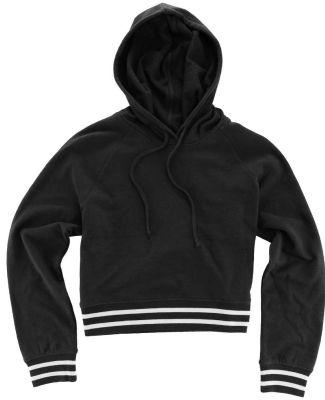 Boxercraft R42 Women's Hooded Cropped Sweatshirt Black/ White