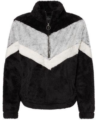 Boxercraft FZ05 Women's Chevron Fuzzy Fleece Pullo Black/ Frosty Grey/ Natural