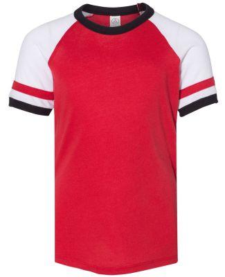 Alternative Apparel K5093 Youth Vintage Jersey Sla Red/ White/ Black