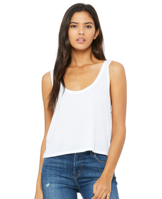 BELLA 8880 Womens Cropped Tank Crop Top WHITE