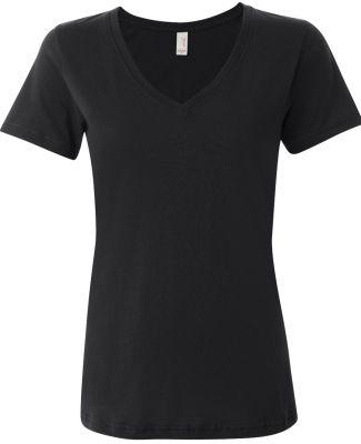 392 Anvil Ladies' Sheer V-Neck T-Shirt Black