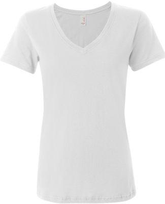 392 Anvil Ladies' Sheer V-Neck T-Shirt White