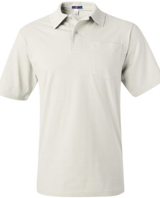 436 Jerzees Adult Jersey 50/50 Pocket Polo with Sp White