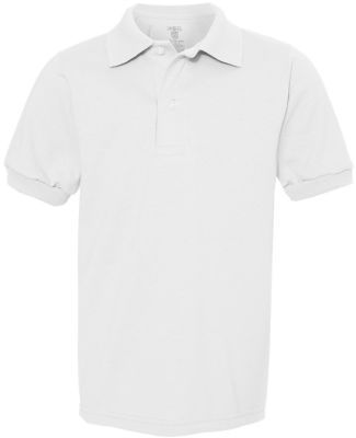 437Y Jerzees Youth 50/50 Jersey Polo with SpotShie White