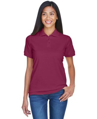 8530 UltraClub® Ladies' Classic Pique Cotton Polo BURGUNDY