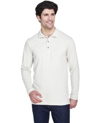 8532 UltraClub® Adult Long-Sleeve Classic Pique C WHITE
