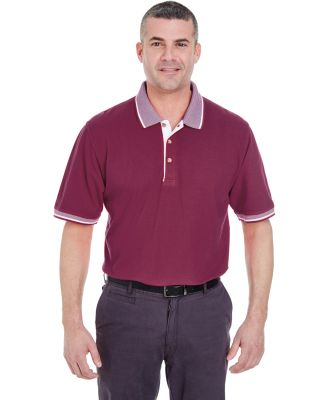 8537 UltraClub® Adult Color-Body Classic Pique Co Burgundy/ White