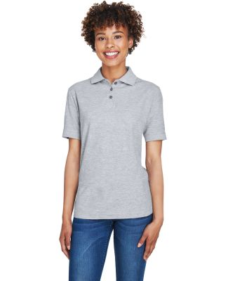 8541 UltraClub® Ladies' Whisper Pique Blend Polo HEATHER GREY