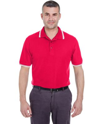 8545 UltraClub® Men's Short-Sleeve Whisper Pique  RED/ WHITE