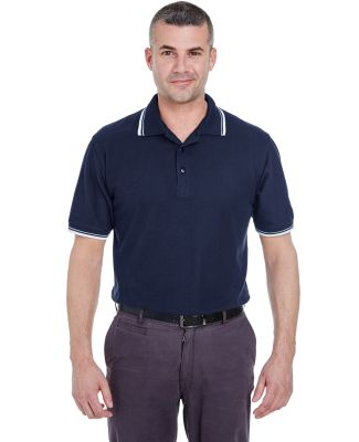 8545 UltraClub® Men's Short-Sleeve Whisper Pique  NAVY/ WHITE