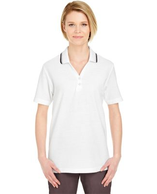8546 UltraClub® Ladies' Short-Sleeve Whisper Piqu WHITE/ BLACK