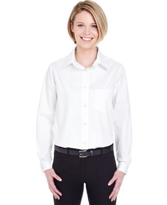 8361 UltraClub® Ladies' Long-Sleeve Blend Perform White