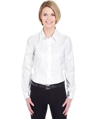 8381 UltraClub® Ladies' Non-Iron Cotton Pinpoint  WHITE