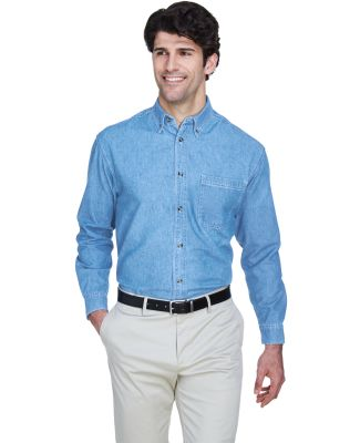 8960 UltraClub® Men's Cypress Denim Button up Shi LIGHT BLUE