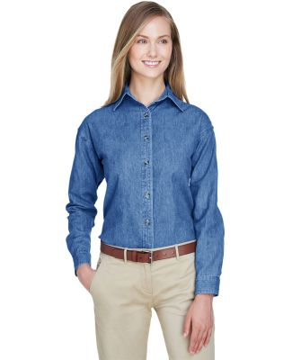 8966 UltraClub® Ladies' Long-Sleeve Cotton Cypres INDIGO