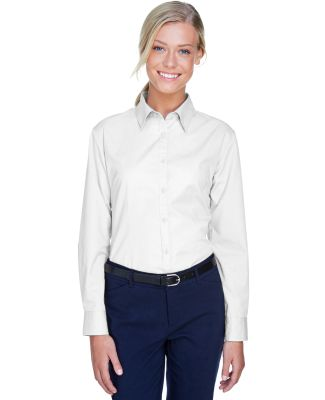 8976 UltraClub® Ladies' Whisper Twill Blend Woven WHITE