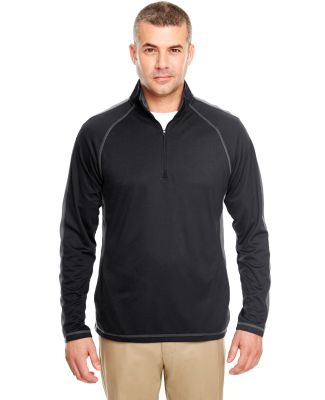 8398 UltraClub® Adult Cool & Dry Sport 1/4-Zip Pe BLACK/ CHARCOAL