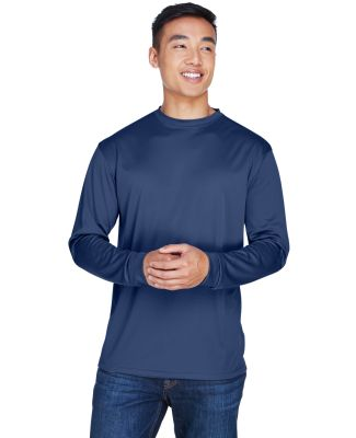 8401 UltraClub® Adult Cool & Dry Sport Long-Sleev NAVY
