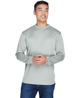 8401 UltraClub® Adult Cool & Dry Sport Long-Sleev GREY