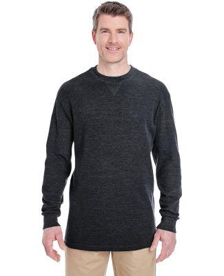 8455 UltraClub® Adult Mini Thermal Cotton Crewnec Black