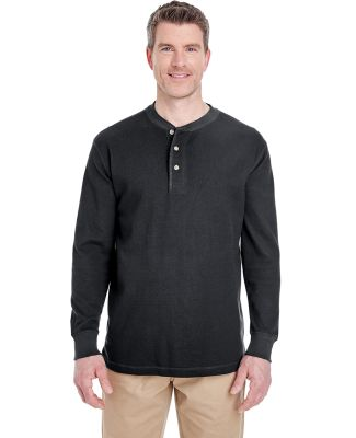 8456 UltraClub® Adult Mini Thermal Cotton Henley BLACK