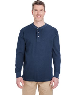8456 UltraClub® Adult Mini Thermal Cotton Henley NAVY