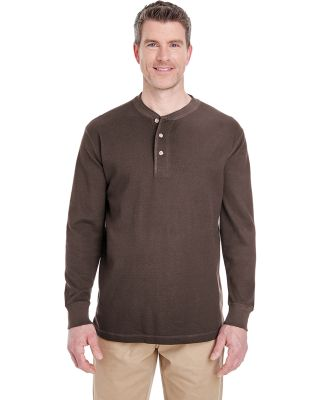 8456 UltraClub® Adult Mini Thermal Cotton Henley CHOCOLATE