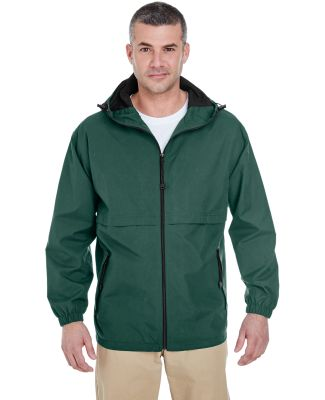 8908 UltraClub® Adult Microfiber Hooded Zip-Front FOREST GREEN