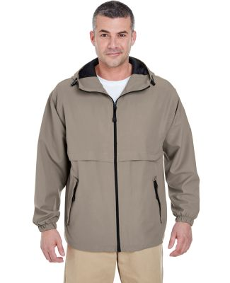 8908 UltraClub® Adult Microfiber Hooded Zip-Front DRIFTWOOD