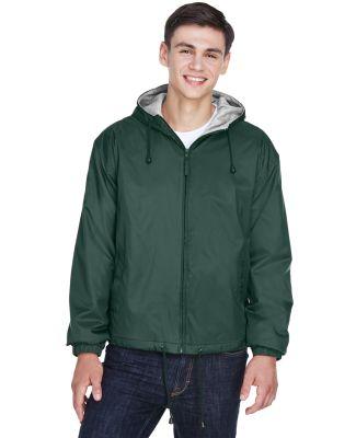 8915 UltraClub® Adult Nylon Fleece-Lined Hooded J FOREST GREEN
