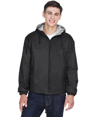 8915 UltraClub® Adult Nylon Fleece-Lined Hooded J BLACK