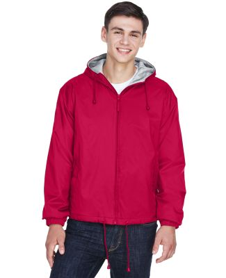 8915 UltraClub® Adult Nylon Fleece-Lined Hooded J RED