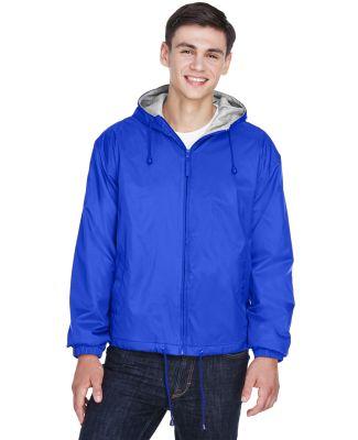 8915 UltraClub® Adult Nylon Fleece-Lined Hooded J ROYAL