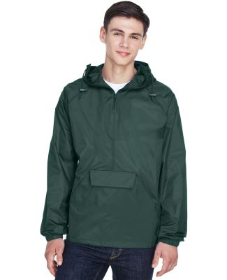 8925 UltraClub® Adult 1/4-Zip Hooded Nylon Pullov FOREST GREEN