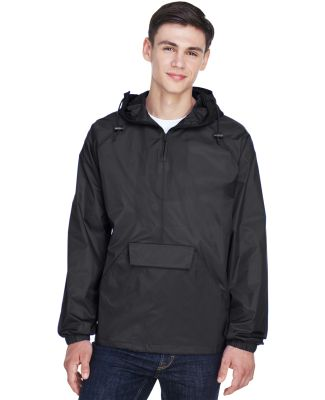 8925 UltraClub® Adult 1/4-Zip Hooded Nylon Pullov BLACK