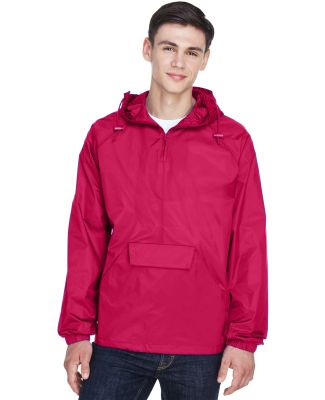 8925 UltraClub® Adult 1/4-Zip Hooded Nylon Pullov RED