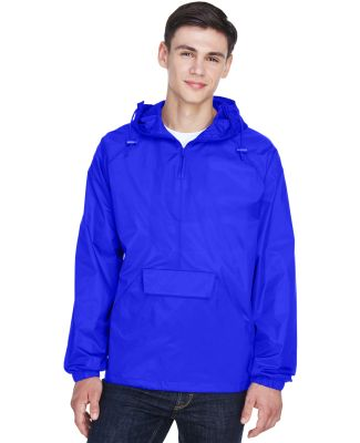 8925 UltraClub® Adult 1/4-Zip Hooded Nylon Pullov ROYAL