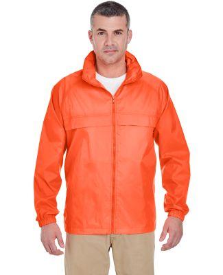 8929 UltraClub® Adult Hooded Nylon Zip-Front Pack BRIGHT ORANGE