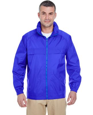 8929 UltraClub® Adult Hooded Nylon Zip-Front Pack ROYAL