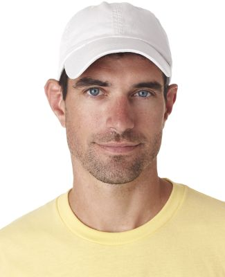 UltraClub 8102 Twill Unconstructed Dad Hat WHITE